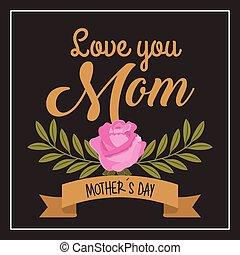 ピンク, 愛, お母さん, 母, バラ, 黒い背景, ブランチ, あなた, 日