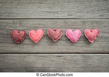 ピンク, 愛, バレンタイン, 甘い, ハンドメイド, 心, 調子, 日