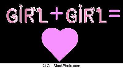 ピンク, 手紙, 碑文, プラス, 概念, lgtb, 女の子, -