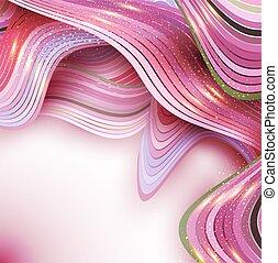 ピンク, 抽象的, ベクトル, 背景, 波