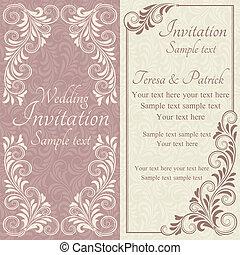 ピンク, 招待, バロック式, ベージュ, 結婚式