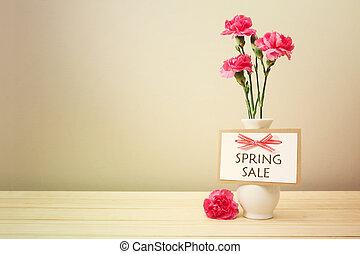 ピンク, 春, カーネーション, セール, カード