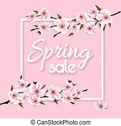 ピンク, 春, セール, sakura., ベクトル, 背景, 咲く