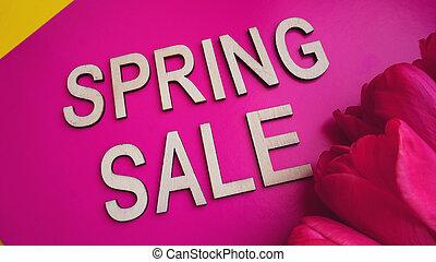 ピンク, 春, 旗, セール, チューリップ
