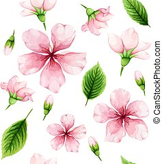ピンク, 春, 葉, blossom., seamless, 水彩画, バックグラウンド。, 緑, さくらんぼ, パターン, 白い花