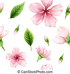 ピンク, 春, blossom., seamless, leaves., 水彩画, 緑, さくらんぼ, パターン, 花