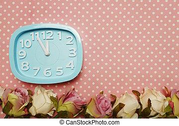ピンク, 時計, ポルカ, ばら, 警報, 背景, 点, 青い花, ボーダー