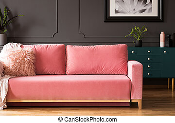 ピンク, 暮らし, 写真, 枕, ソファー, 灰色, キャビネット, 内部, 緑, の上, ポスター, 実質, plant., 部屋