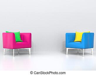 ピンク, 暮らし, 枕, 青, 黄色緑, 肘掛け椅子, 部屋