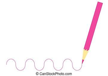 ピンク, 木製である, 図画, 鉛筆