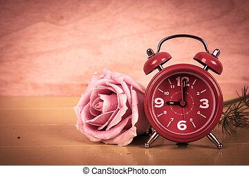 ピンク, 木製である, 型, 腕時計, 背景, バラ