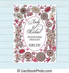 ピンク, 木製である, 結婚式, 秋, 背景, 招待