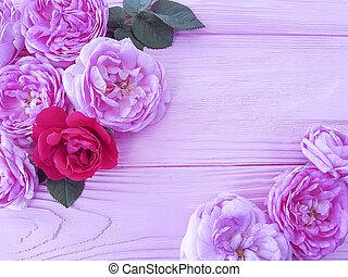 ピンク, 木製である, 花, 背景, バラ