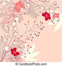 ピンク, 植物, 背景, 花, 花, 輪郭