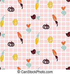 ピンク, 楽しみ, スケッチ, checkered, パターン, seamless, 手, バックグラウンド。, ベクトル, 野菜, 引かれる, スタイル