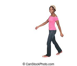 ピンク, 歩くこと, 横切って, 背景, 女の子, 白