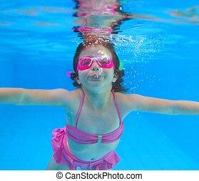 ピンク, 水中, わずかしか, 青, ビキニ, 女の子, プール, 水泳