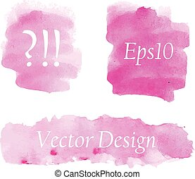 ピンク, 水彩画, セット