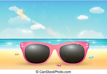 ピンク, 浜。, サングラス, 明るい, 砂の 海