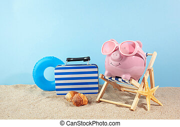 ピンク, 浜, サングラス, 貯金箱