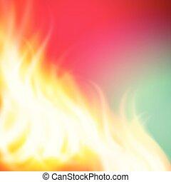 ピンク, 火, 抽象的, 緑の背景, デザイン, あなたの
