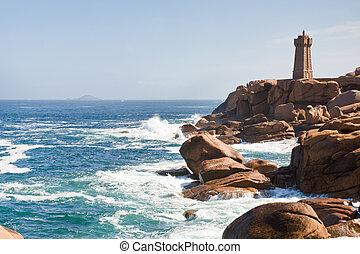 ピンク, 灯台, 海岸, ブリタニー, フランス, 花こう岩, 岩