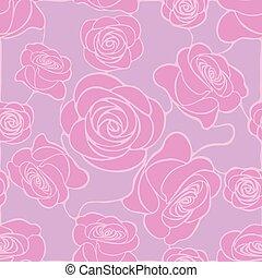 ピンク, 灰色, パターン, seamless, ばら, 背景, 花, モザイク