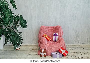 ピンク, 灰色, 椅子, 内部, 部屋, 家, 植物