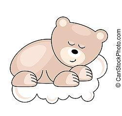 ピンク, 熊, 睡眠, かなり, 小さい, 雲