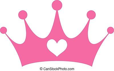ピンク, 特許権使用料, 王冠, 王女, girly