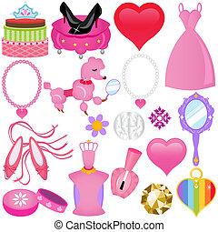 ピンク, 甘い, セット, 王女, 花型女性歌手
