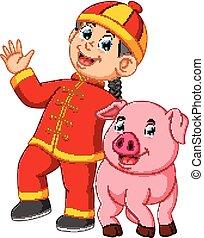 ピンク, 男の子, わずかしか, 中国語, 大きい, 豚, 年, 新しい, 遊び