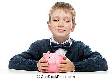 ピンク, 男の子, 成功した, 小豚, 保有物, 銀行, 幸せ