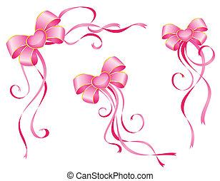ピンク, 白い背景, 弓