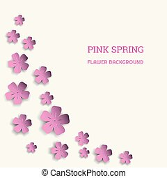 ピンク, 白, ペーパー, 花, 背景
