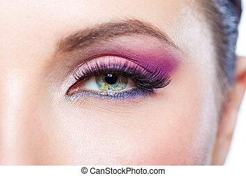 ピンク, 目の 構造, の上, 明るい, 女性, 終わり