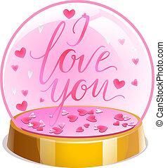 ピンク, 碑文, ボール, 愛, バレンタイン, 内側。, イラスト, day., 水晶, ベクトル, 心, 小さい, マジック, あなた