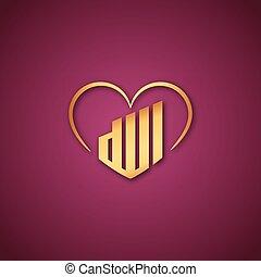 ピンク, 神, 上に, 愛, ロゴ