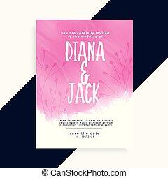 ピンク, 結婚式, 水彩画, デザイン, 招待, カード