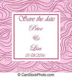 ピンク, 結婚式, 波, 背景, 招待
