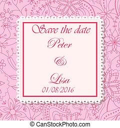 ピンク, 結婚式, 花, 背景, 招待