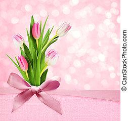 ピンク, 絹の花, 背景, 弓