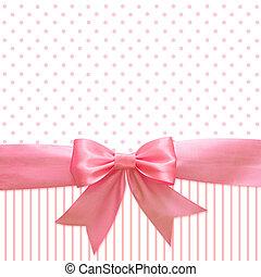ピンク, 絹, リボン, 背景, 弓