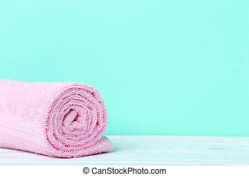 ピンク, 緑, タオル, 背景