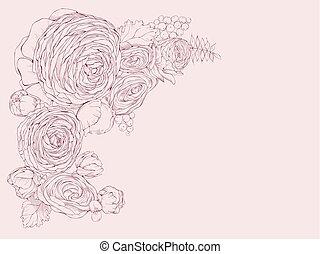 ピンク, 線である, シャクヤク, 挨拶, 横, 花, カード