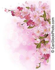 ピンク, 縦, 優しい, sakura, 花, カード