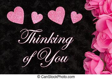 ピンク, 考え, あなた, 挨拶, ばら