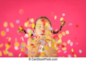 ピンク, 肖像画, 空想, に対して, 女の子, 背景