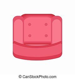 ピンク, 肘掛け椅子, イラスト, ふるいにかけなさい, ベクトル, アイコン