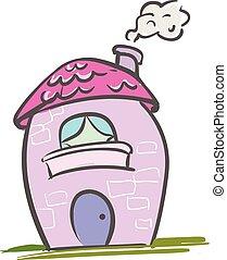 ピンク, 色, 家, イラスト, ベクトル, ∥あるいは∥